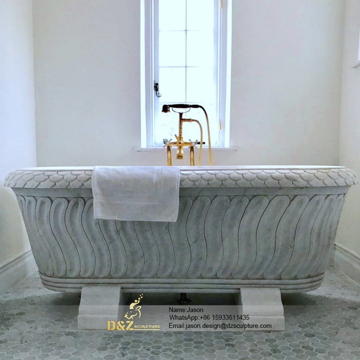 Bathtub stone carved