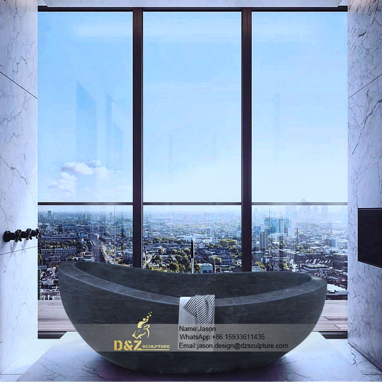 Black boat-shaped Stone bathtub