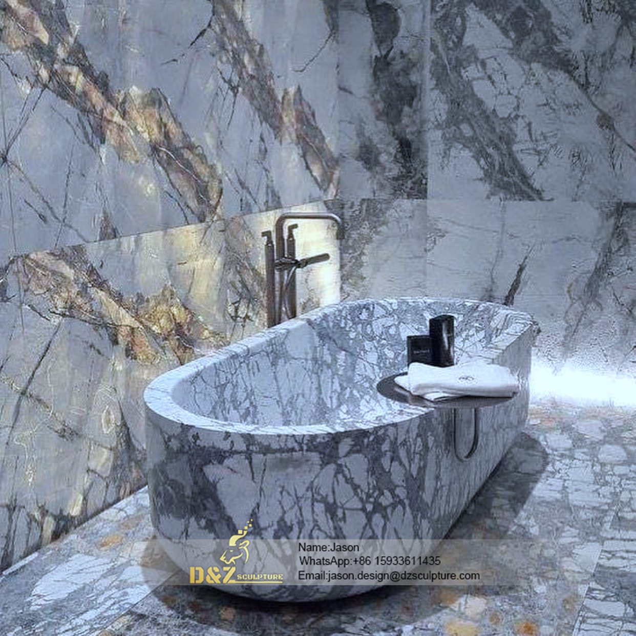 Deep stone bathtub