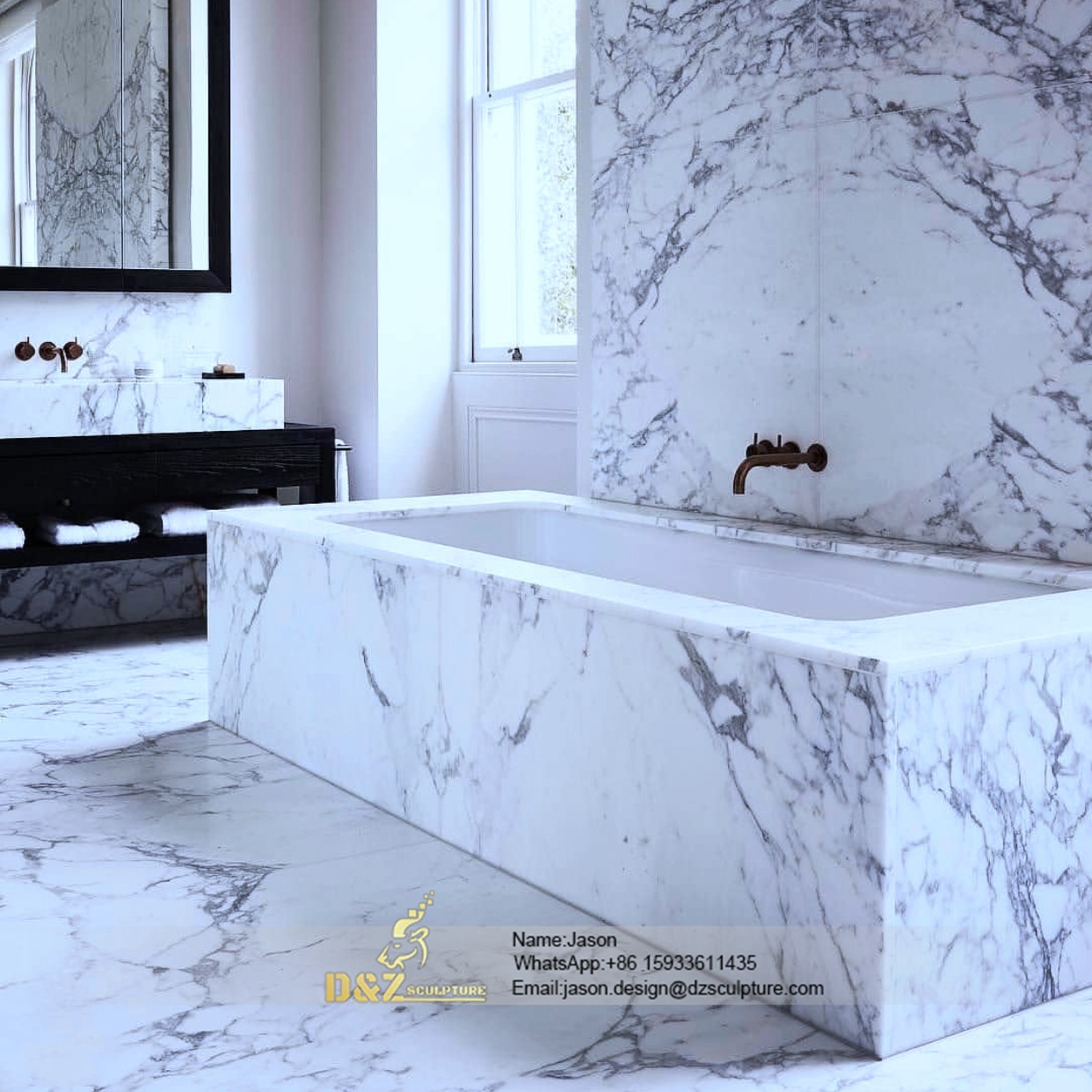 Geometric stone bathtub