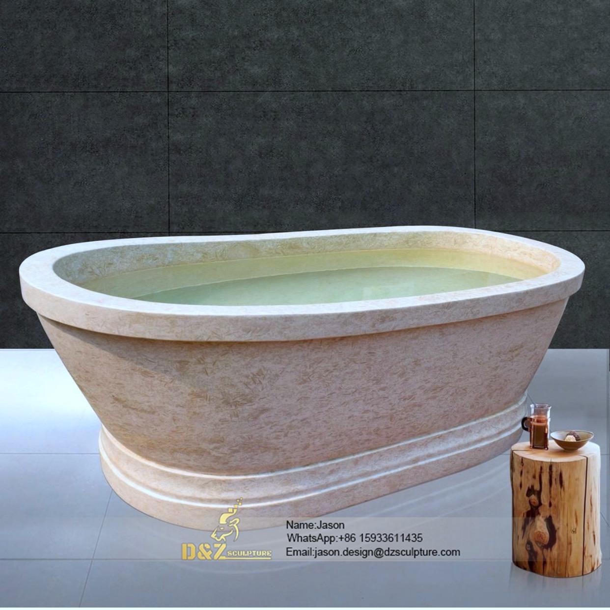Pink stone bathtub