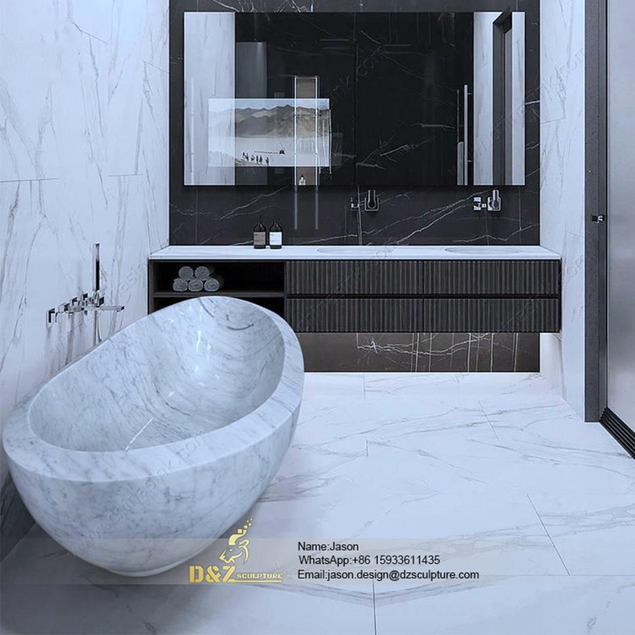 Round stone bathtub
