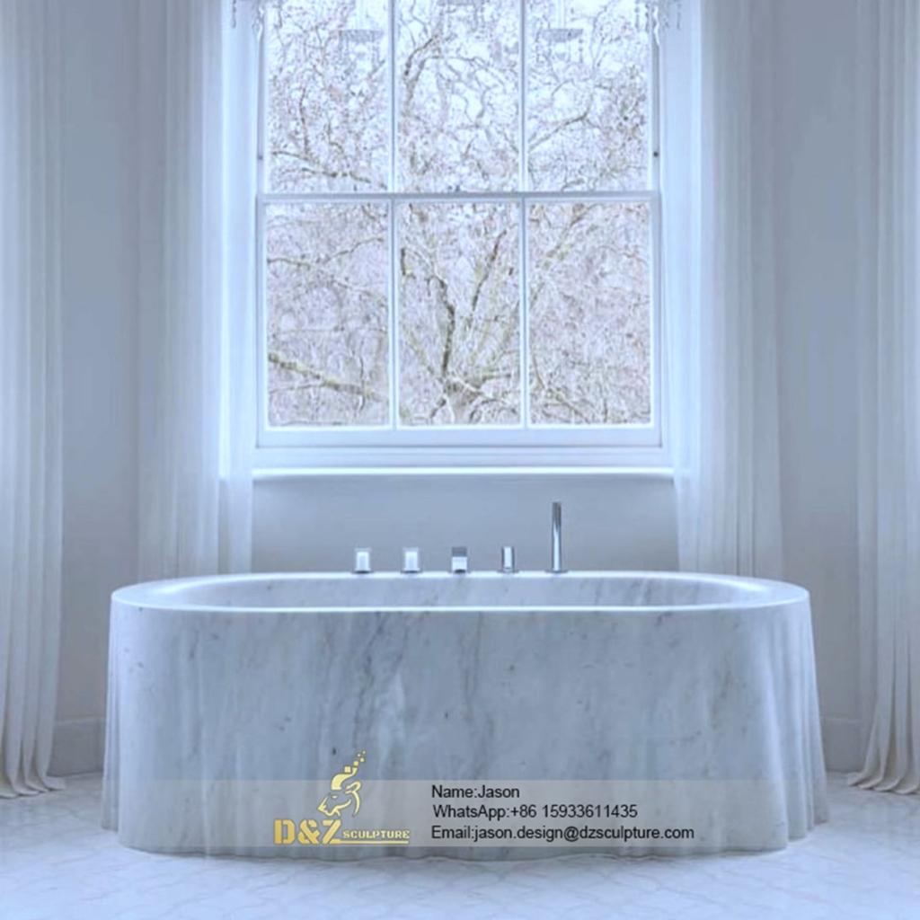 Solid stone marble bathtub