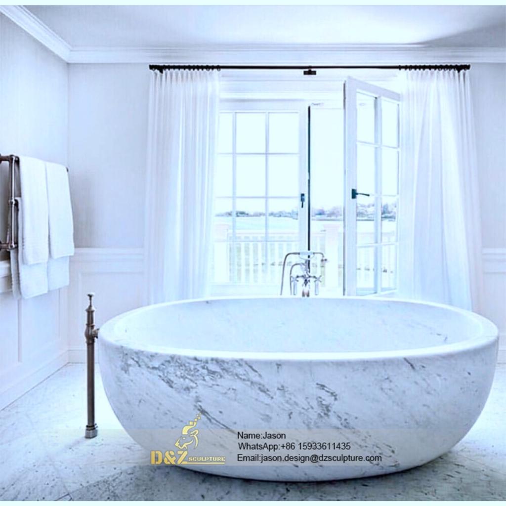 Solid stone round bathtub