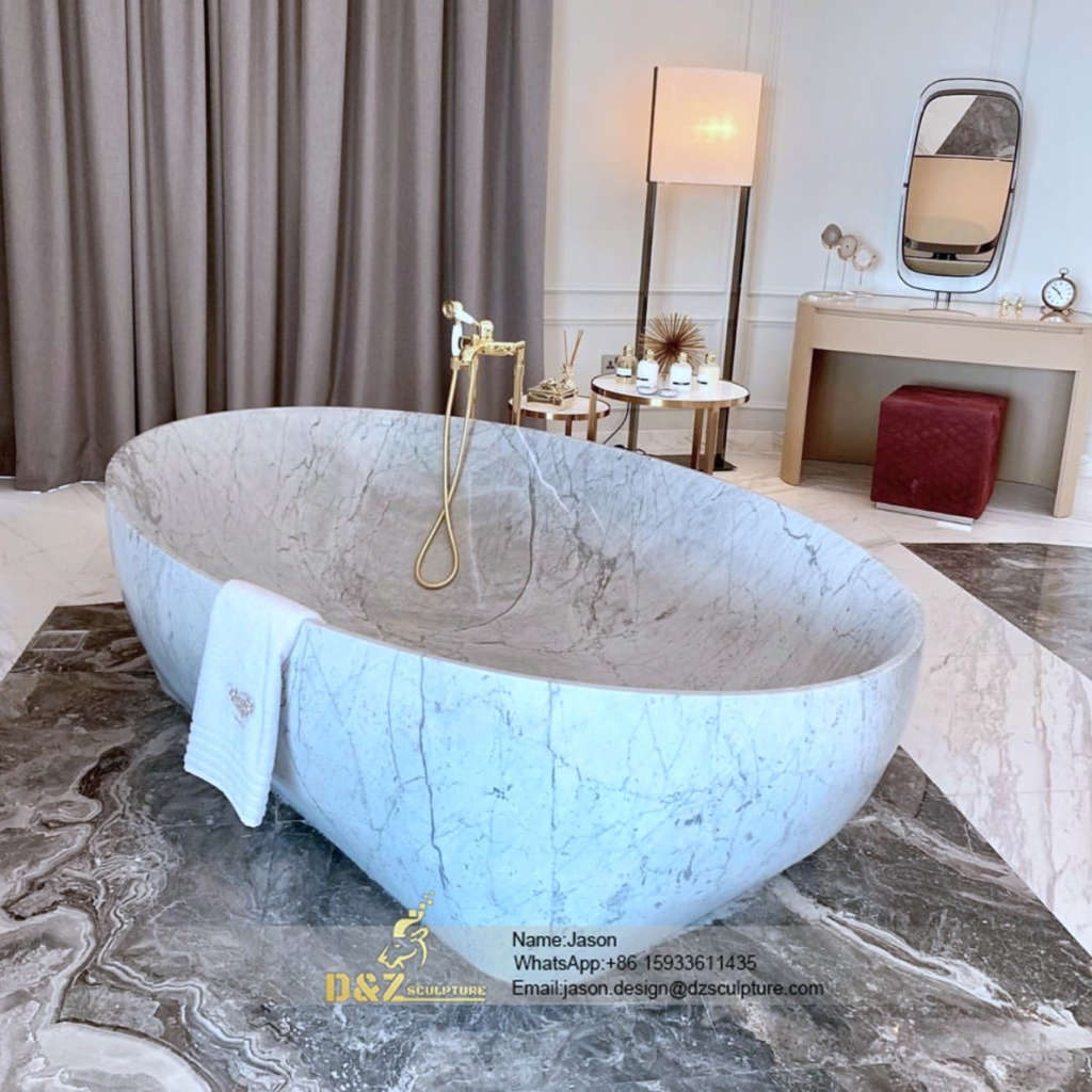 The freestanding stone bathtub