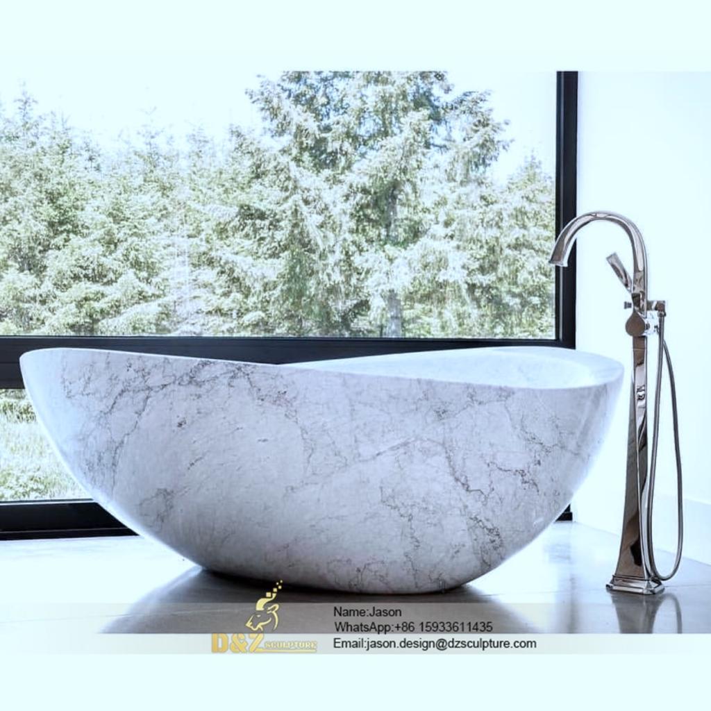 White natural stone bathtub