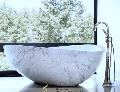 White natural stone bathtub