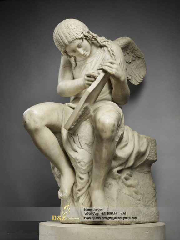 Sitting angel sculpture