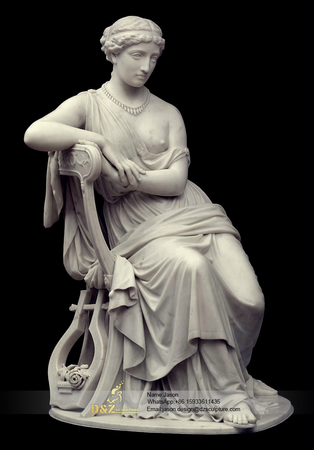 Sitting woman marble sculpture