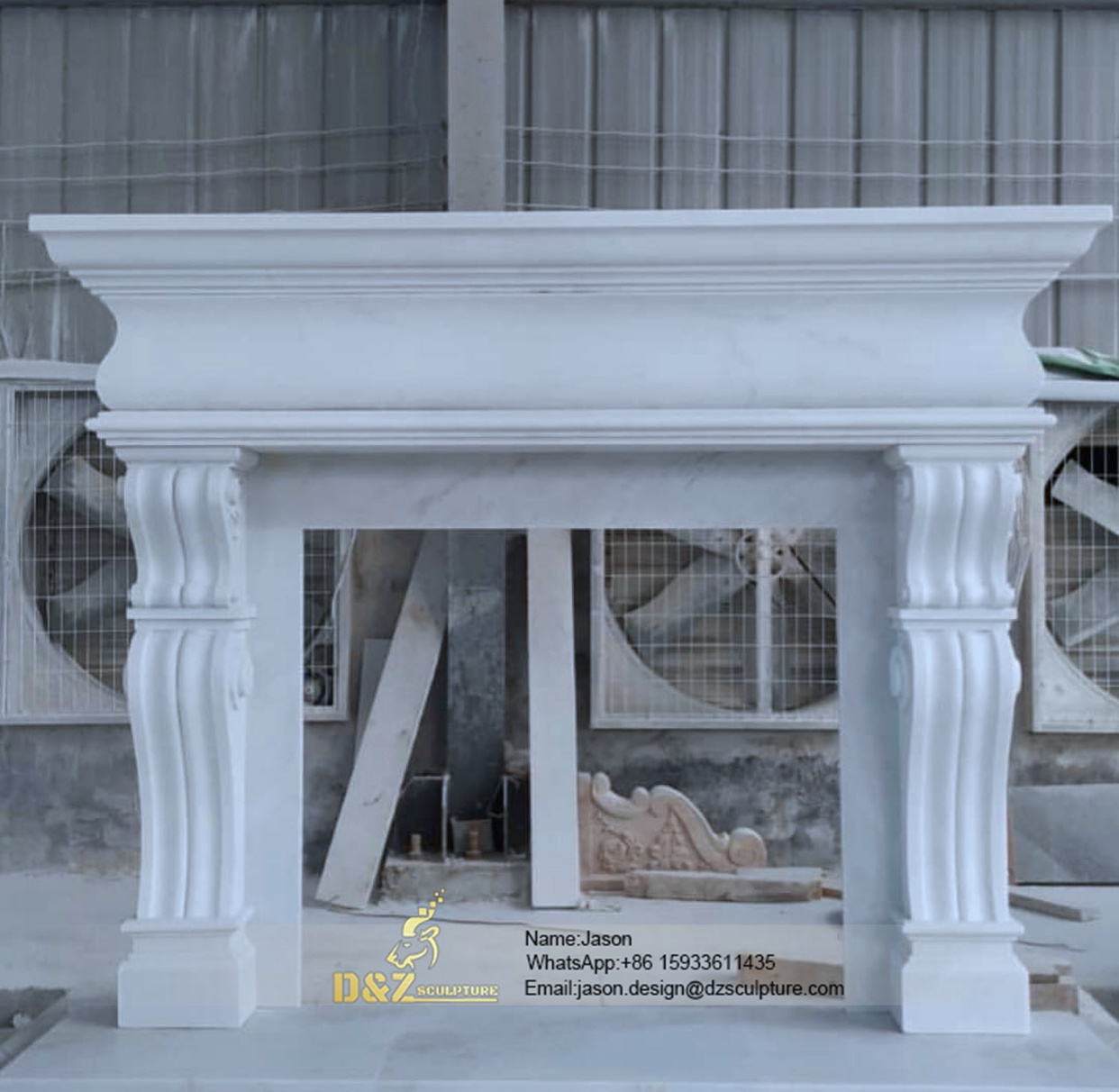 Fireplace natural marble