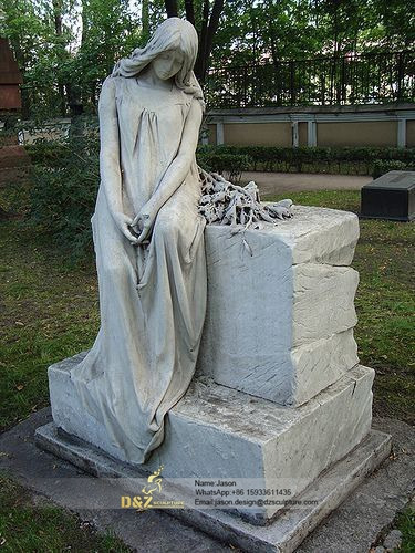 Natural marble cemetery angel headstone statue