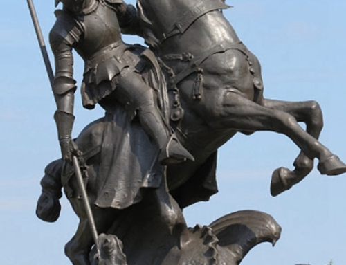 St George slays dragon statue