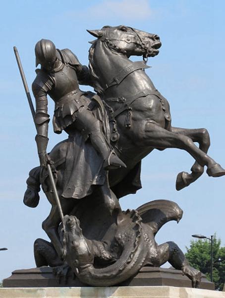 St George slays dragon statue