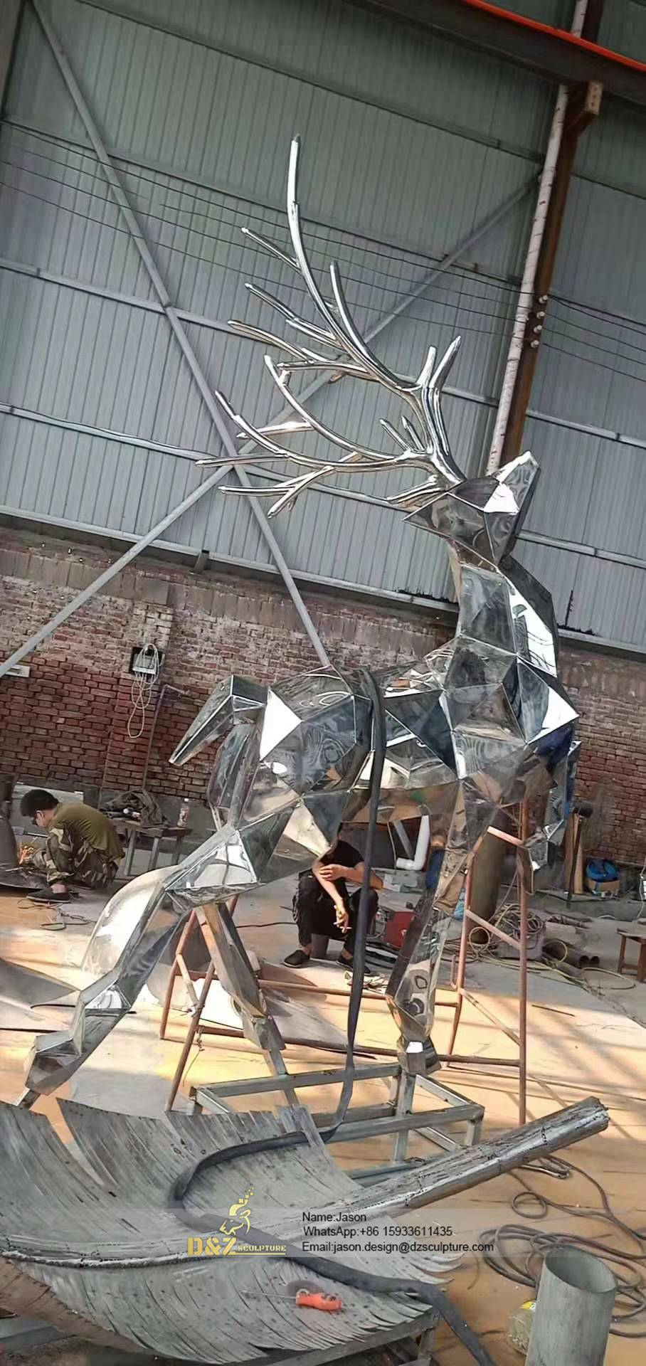 Shiny Stainless Steel deer Statue