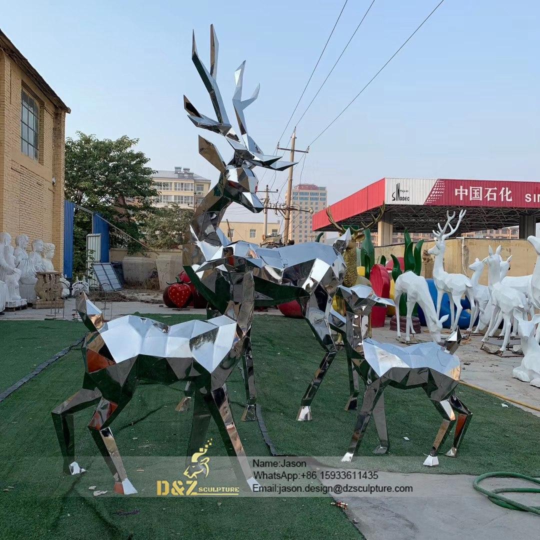 Stainless Steel Mirror deer Sculpture