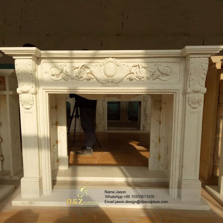 Stone carve fireplace frame