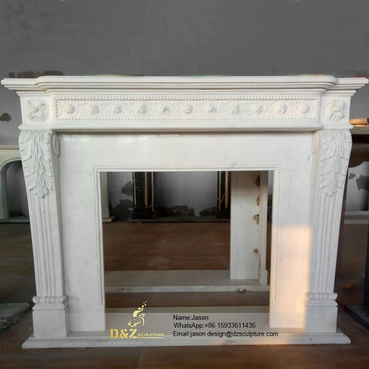 White natural marble fireplace