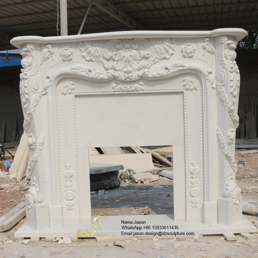 White stone fireplace mantel