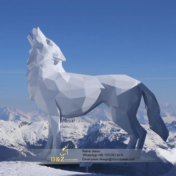 White wolf statue