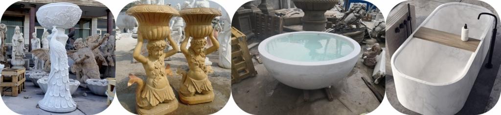 Stone pillars and tubs