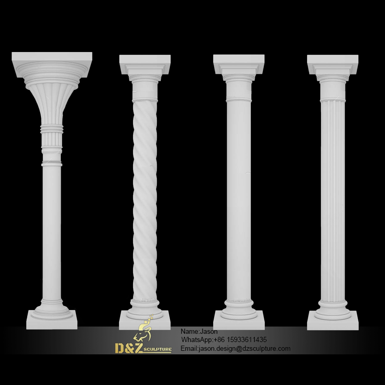 Various types of stone pillars