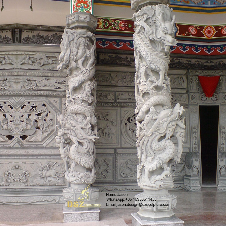 Dragon carved stone pillars