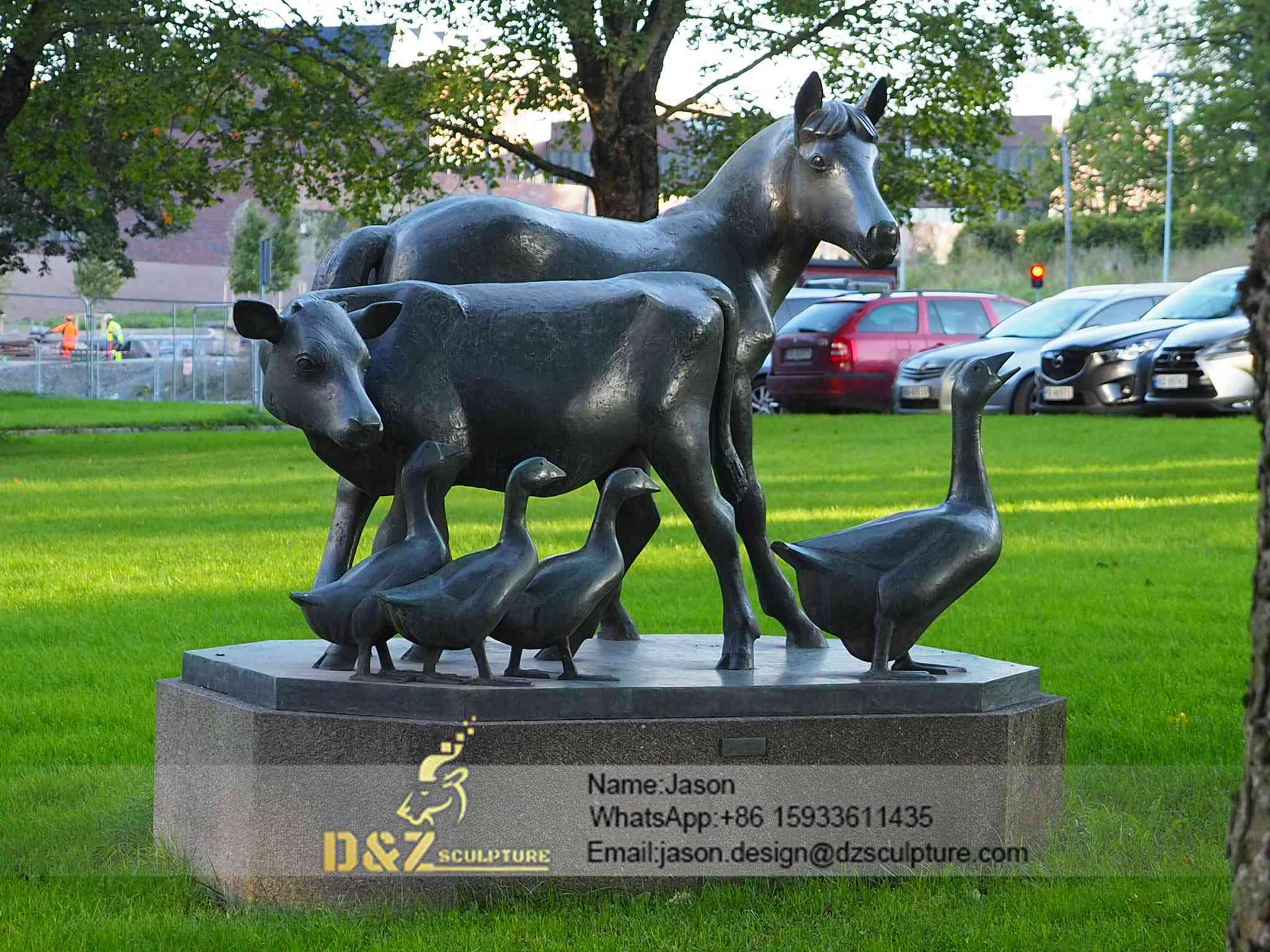 Bronze duck and horse