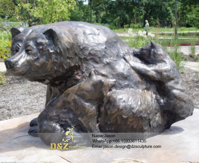 Metal bronze black bears
