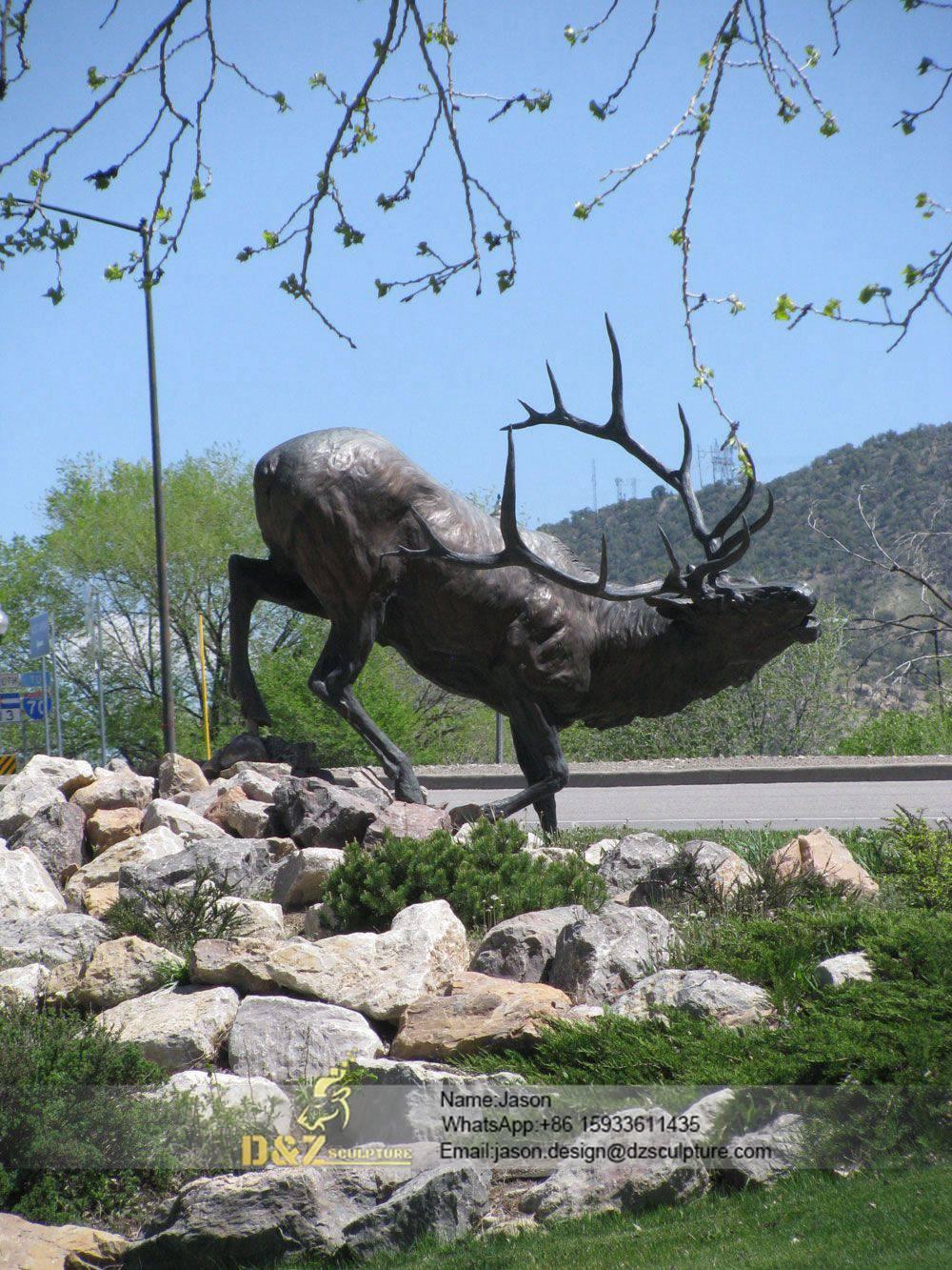 black sika deer sculpture