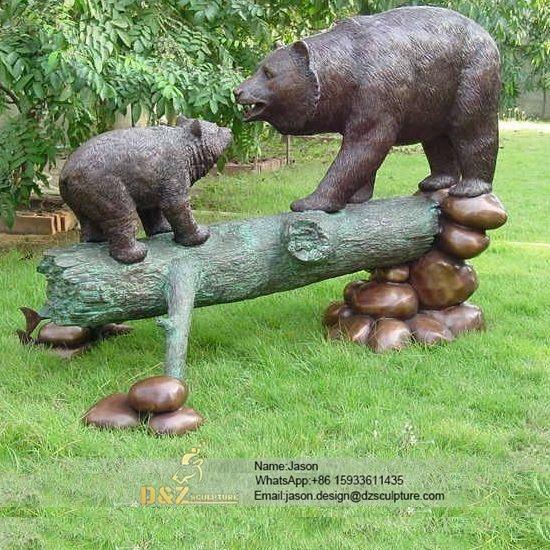 Bear bronze statue life size