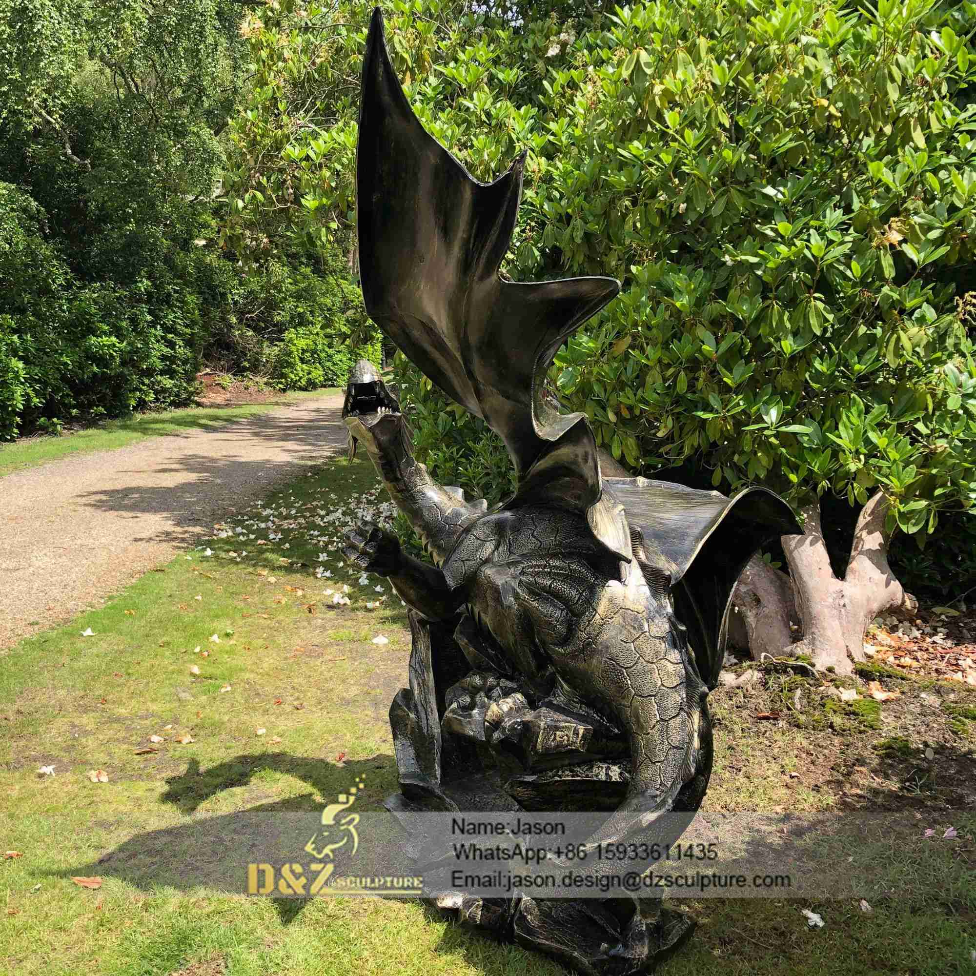 Mystical dragon 232cm bronze