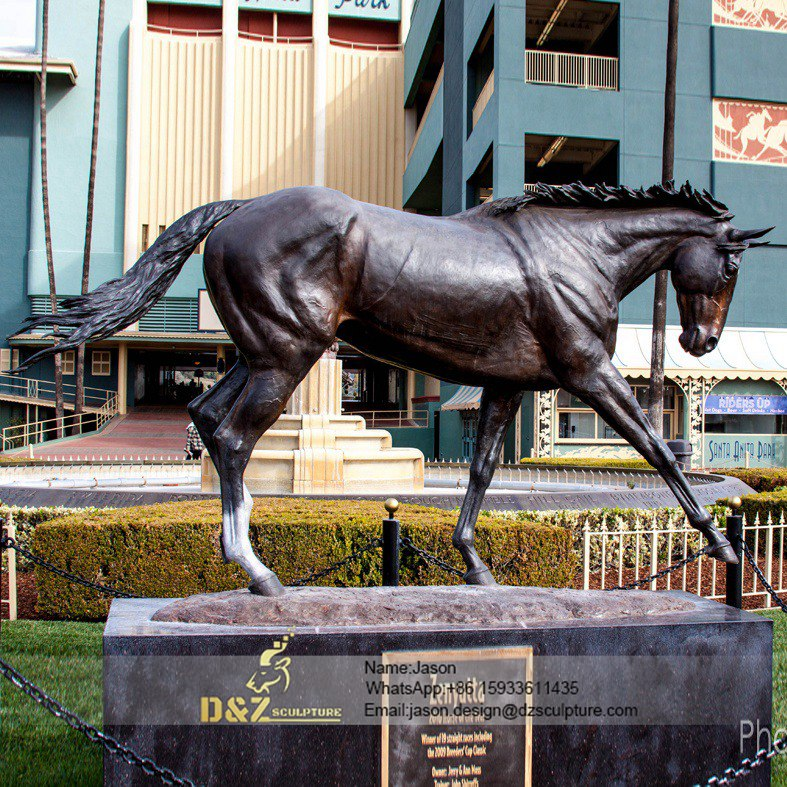A running horse sculpture