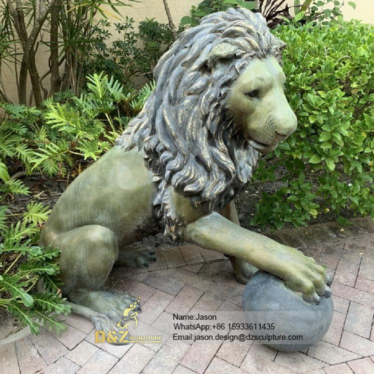 Bronze sculpture animal lion