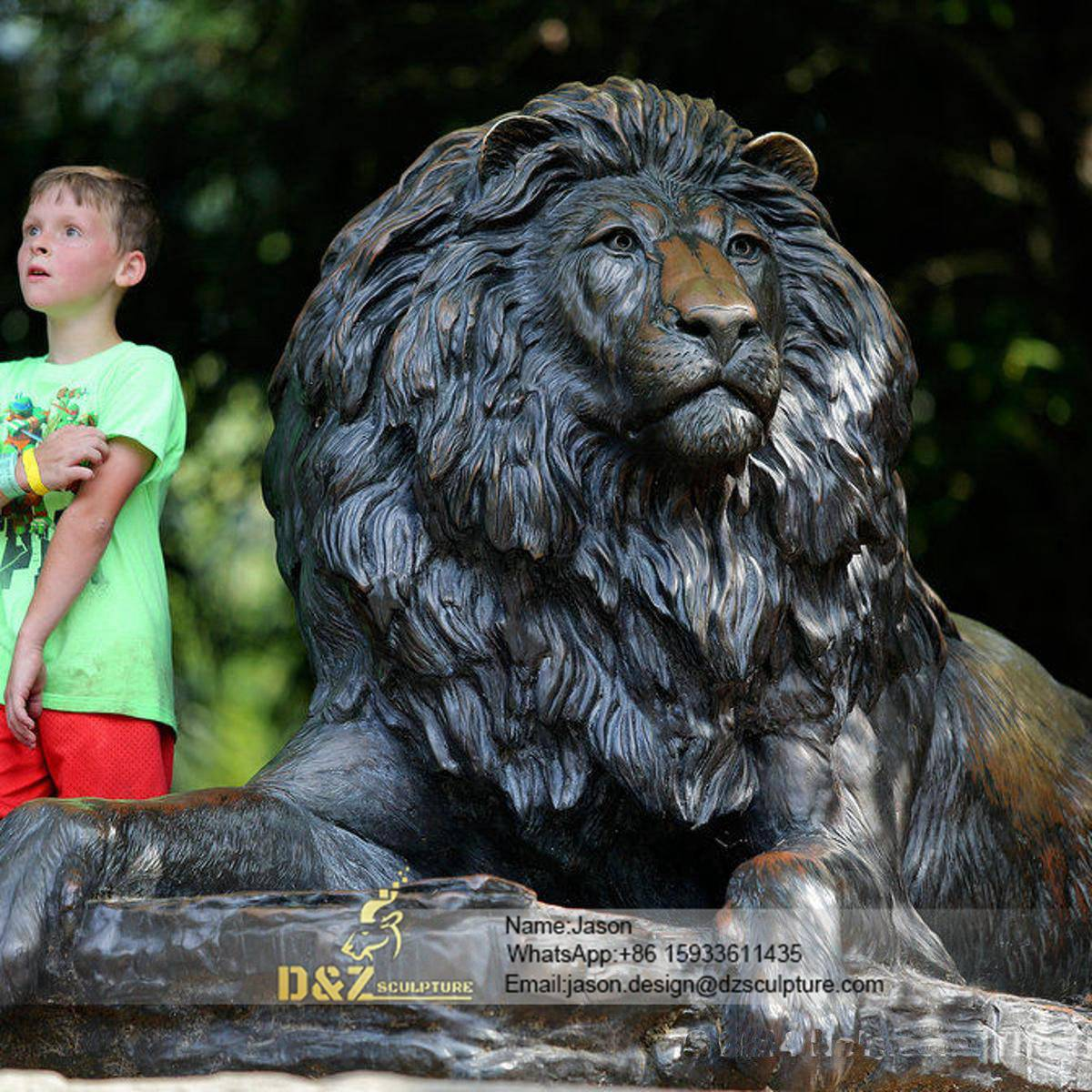 Thinking lion sculpture