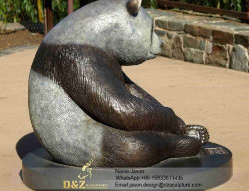 vivid panda sculpture /bronze sculpture