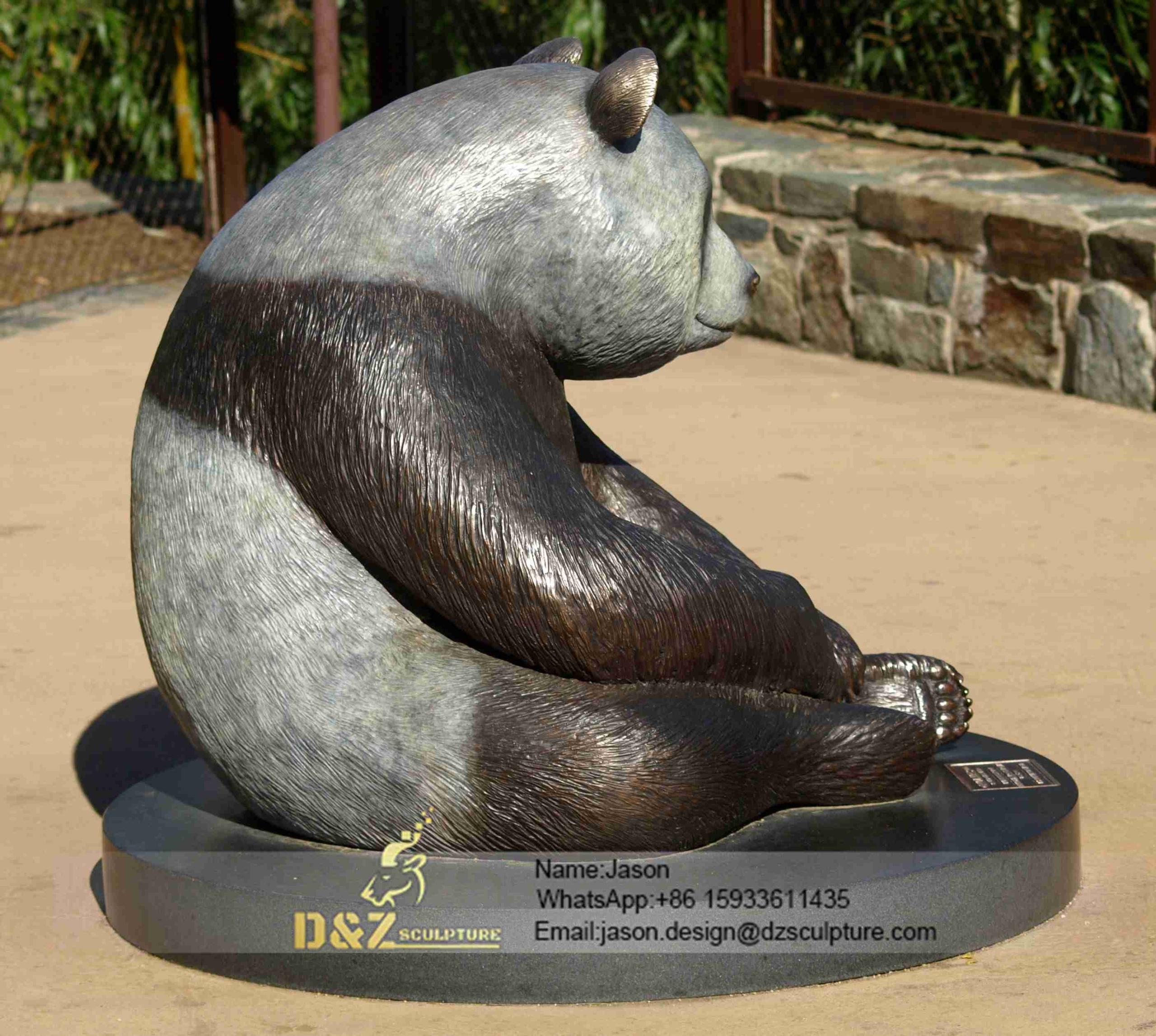 vivid panda sculpture