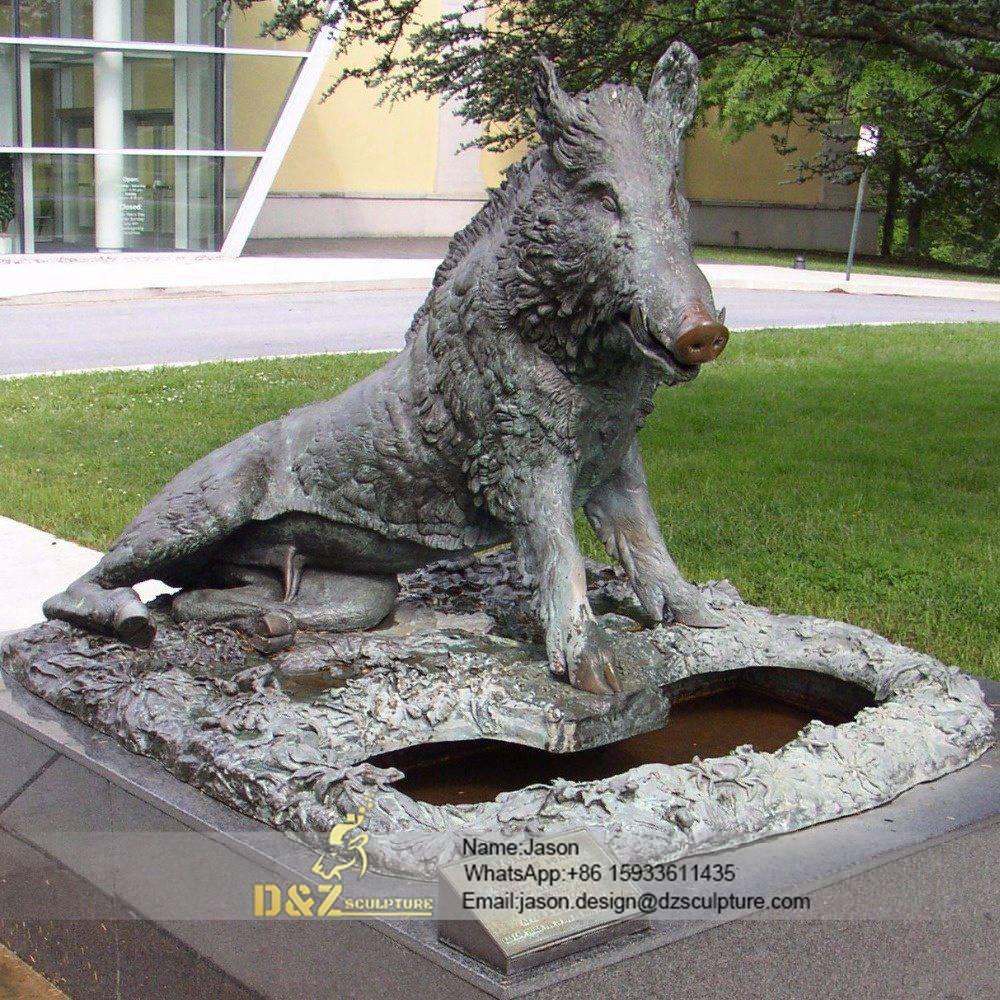 Wild boar bronze statue